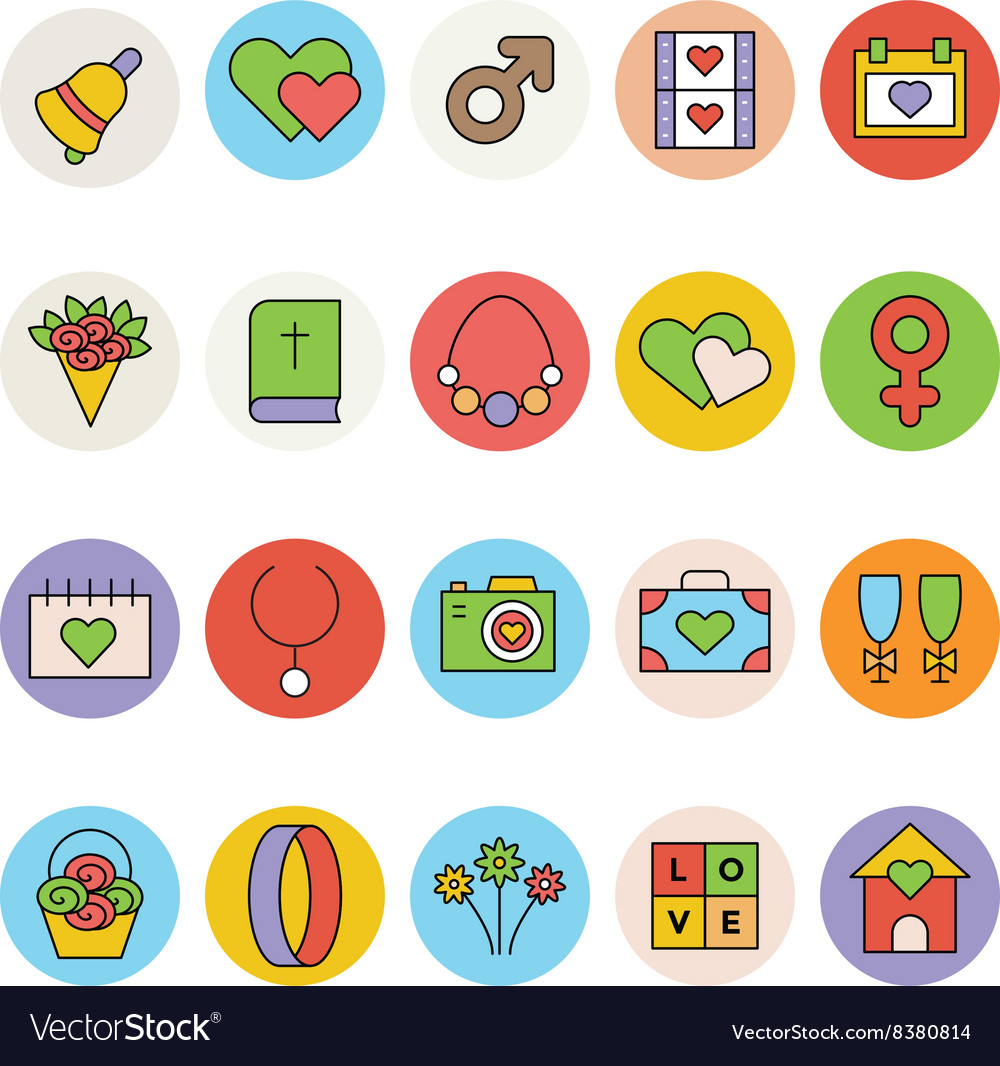 Wedding Colored Icons 3