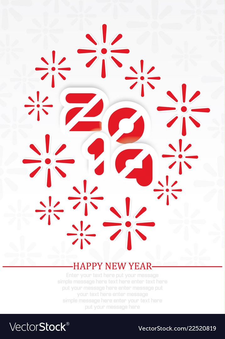 2019 happy new year background with fireworks red vector image