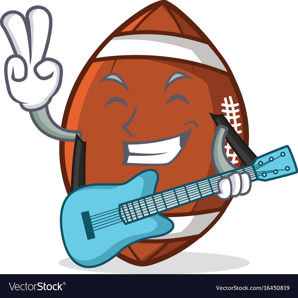 American football character cartoon with guitar