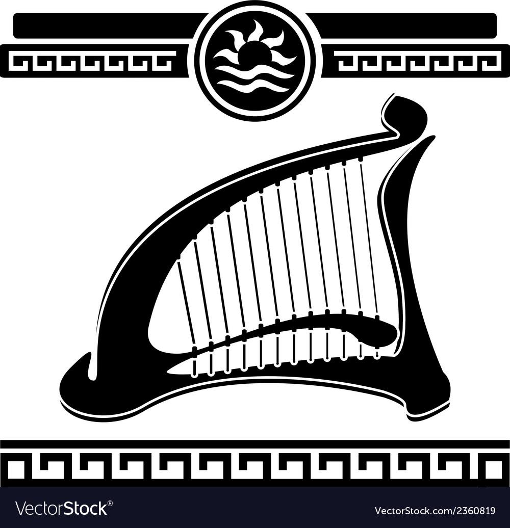Ancient harp vector image