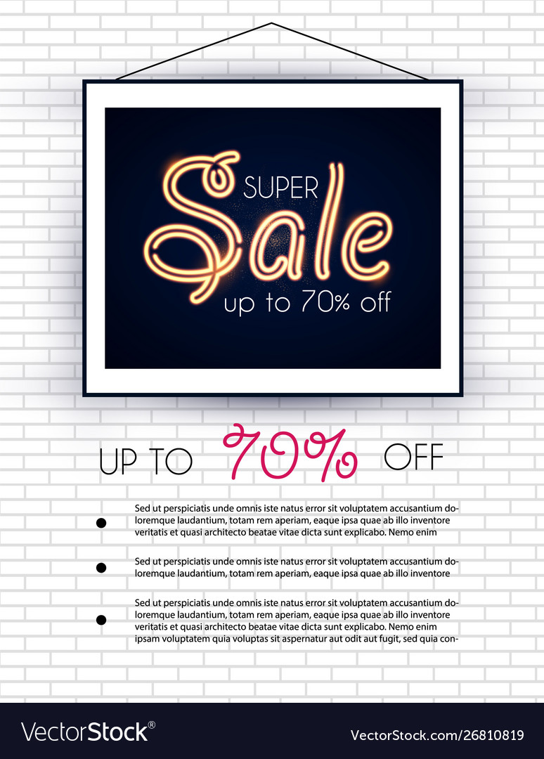 Elegant sale design template with frame and gold