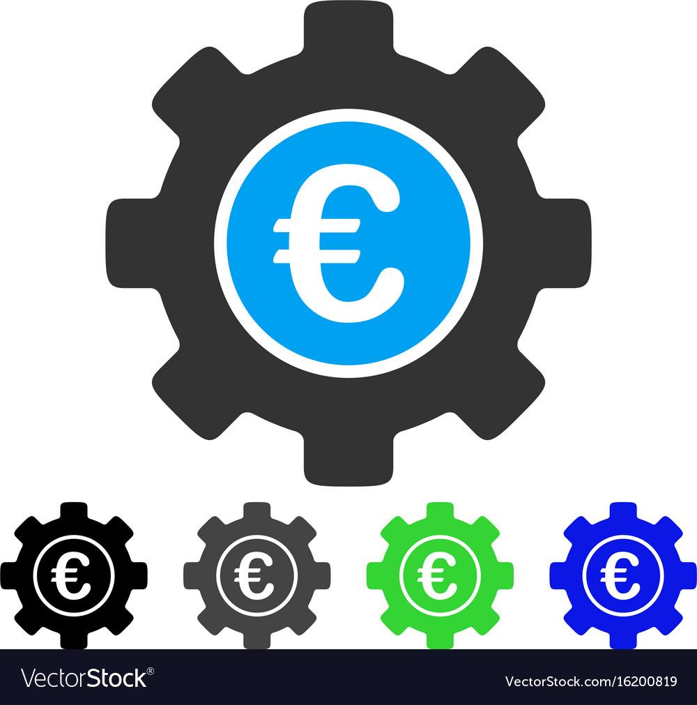 Euro development gear flat icon vector image