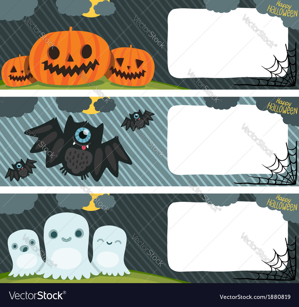 Happy Halloween card set with pumpkin bat ghost