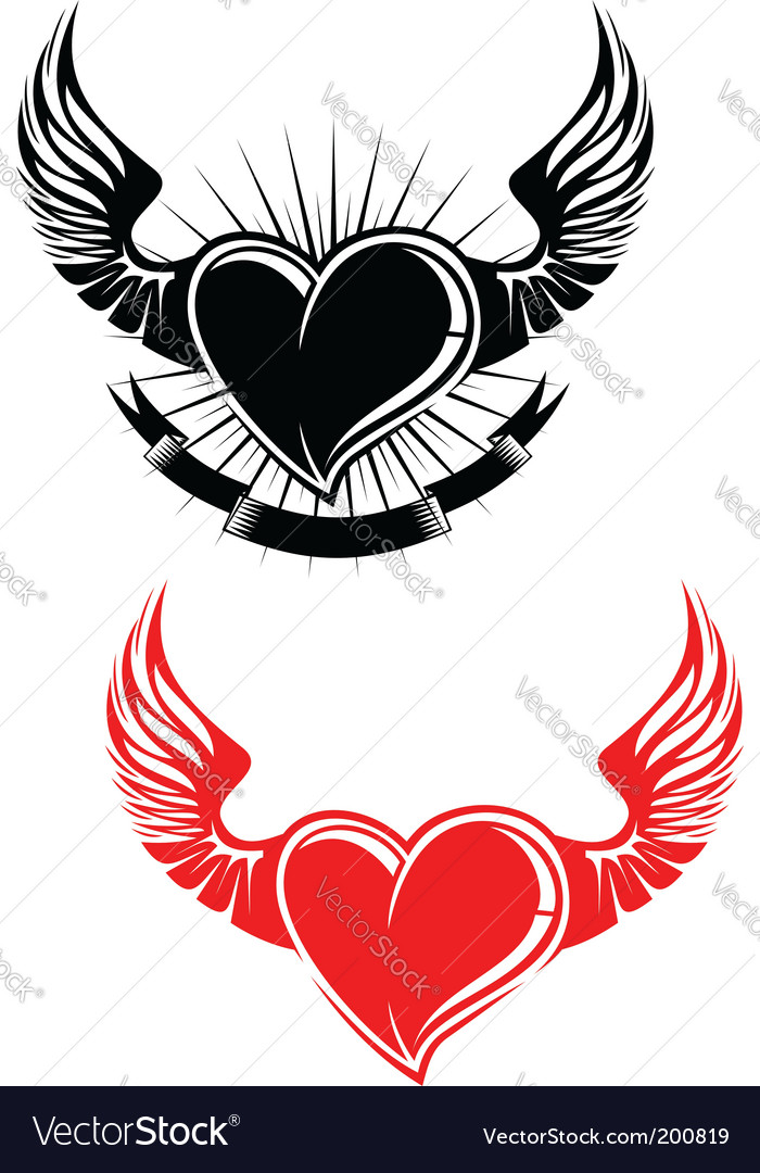 Heart with wings tattoo vector image