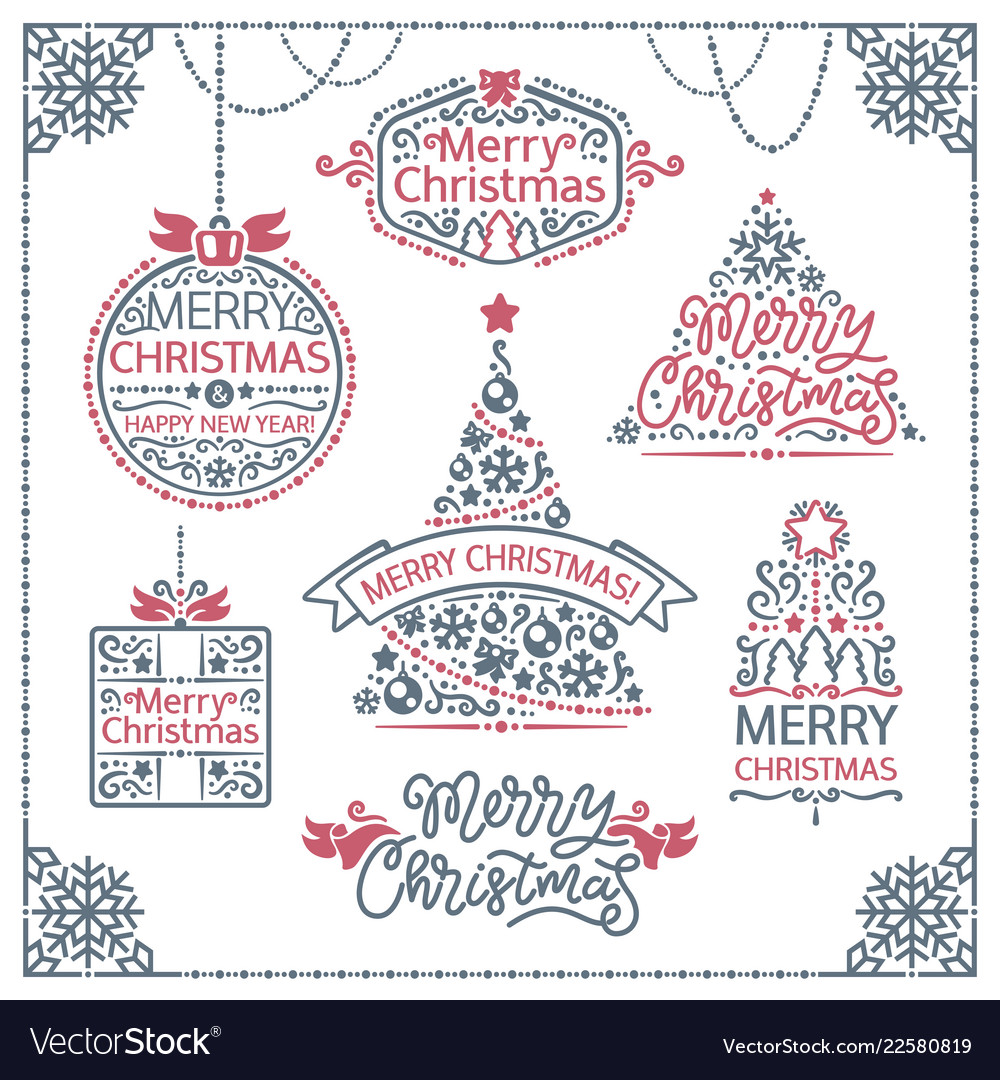 Merry christmas design labels set