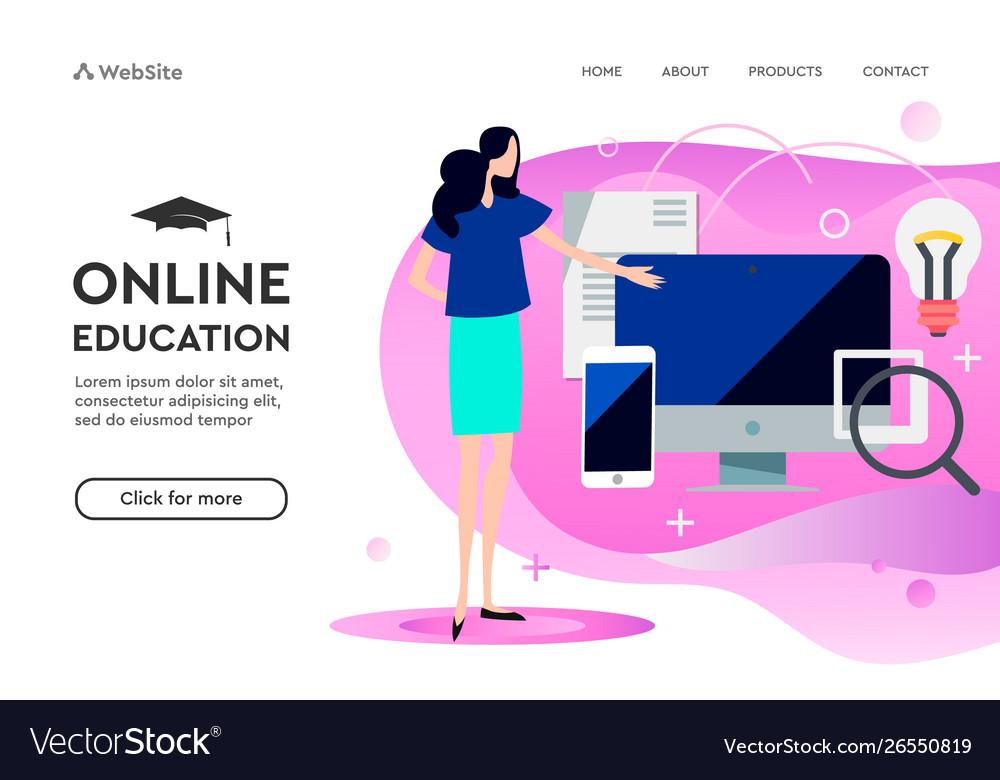 Modern flat design concept online education
