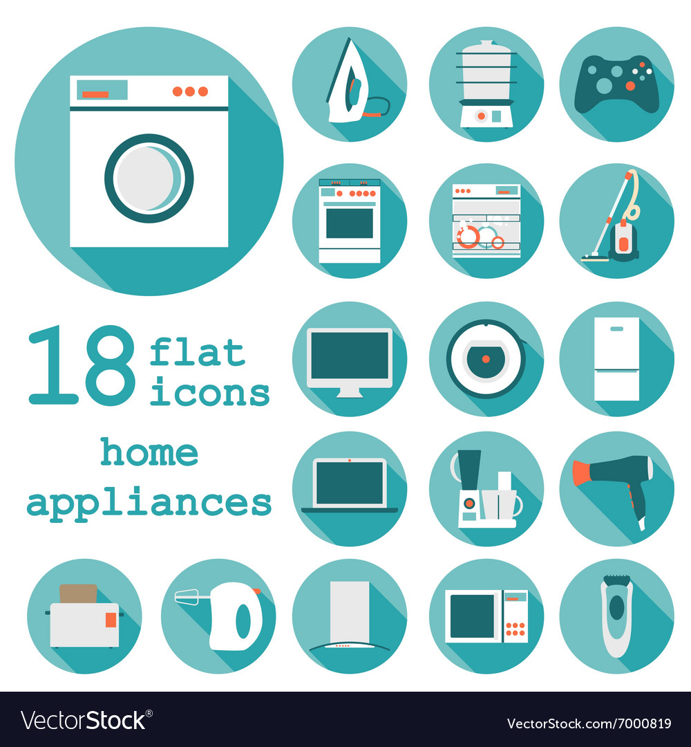 Set Flat Design Icons Of Home Appliances With Long