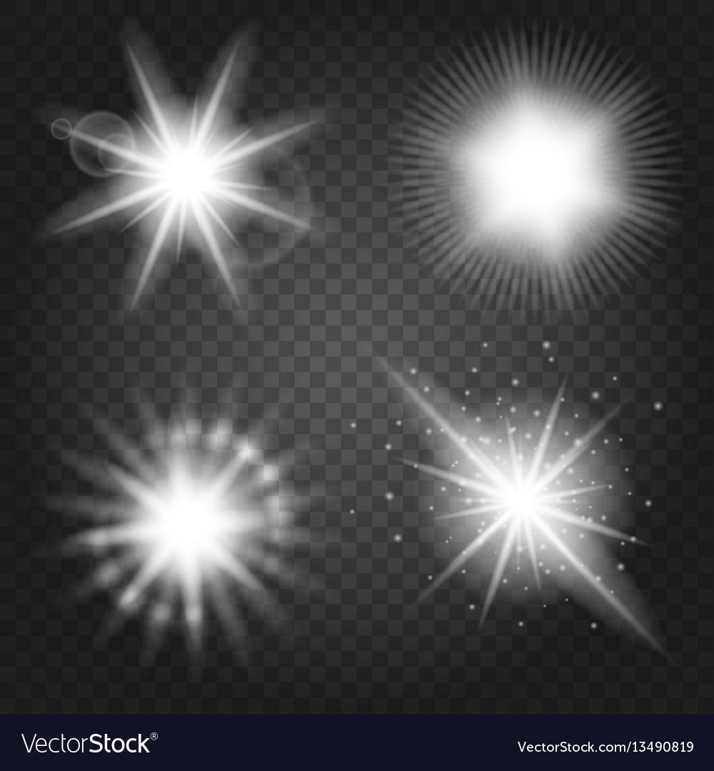 Stars set on transparent background