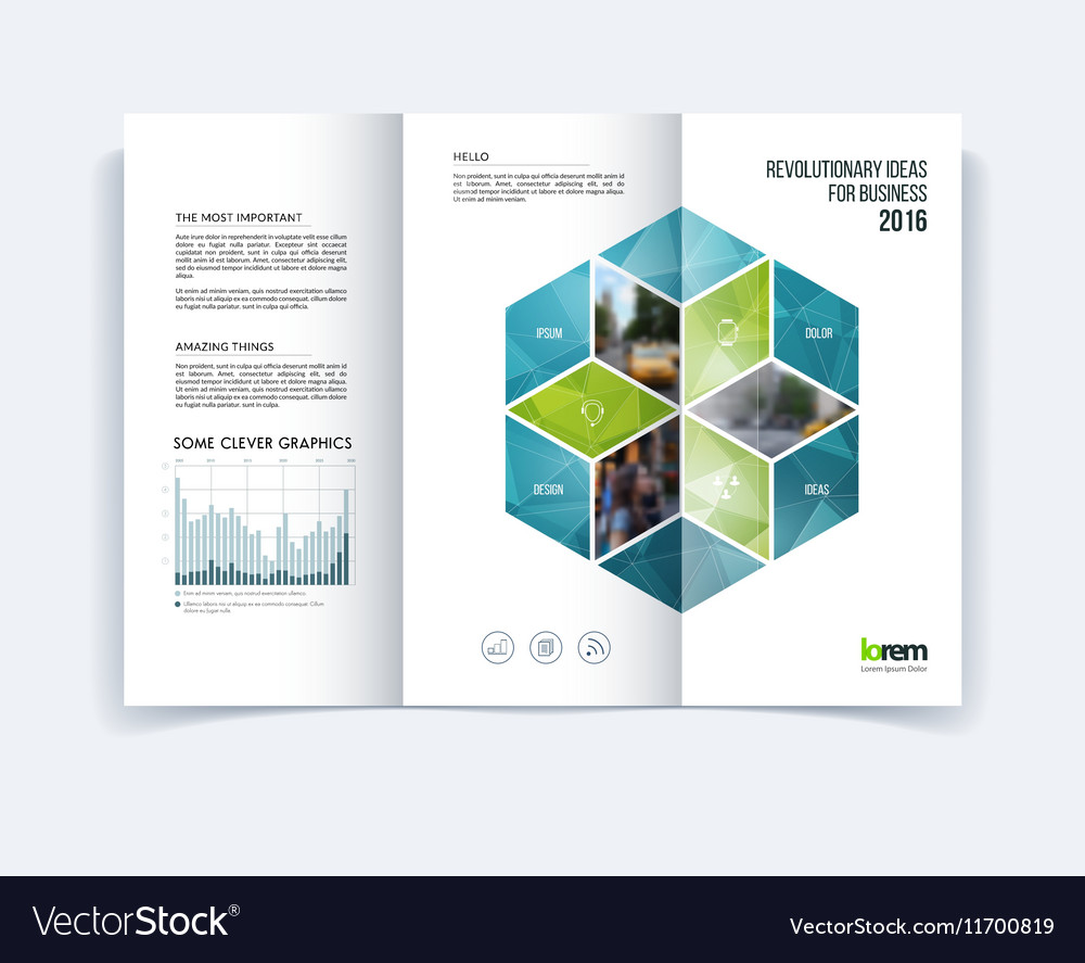 tri fold brochure template layout cover design vector image