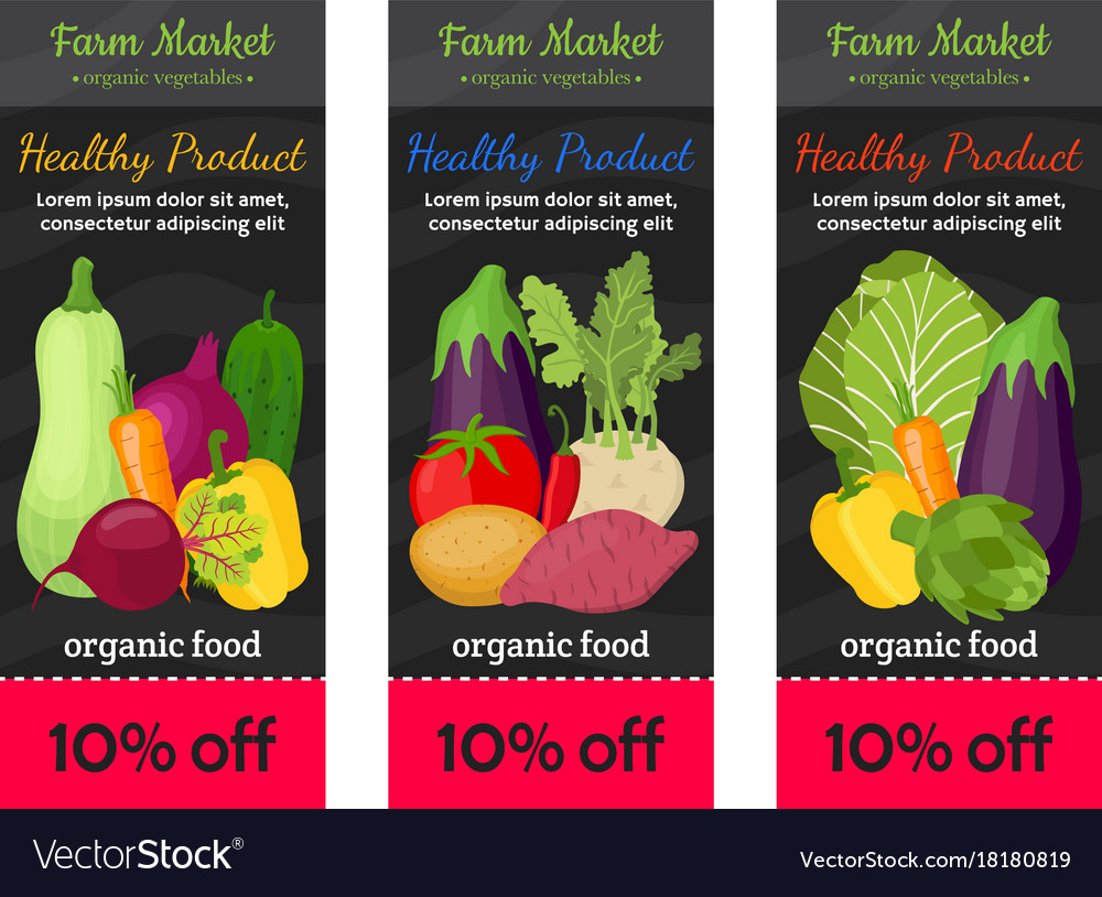Vegetable voucher set farm cartoon style