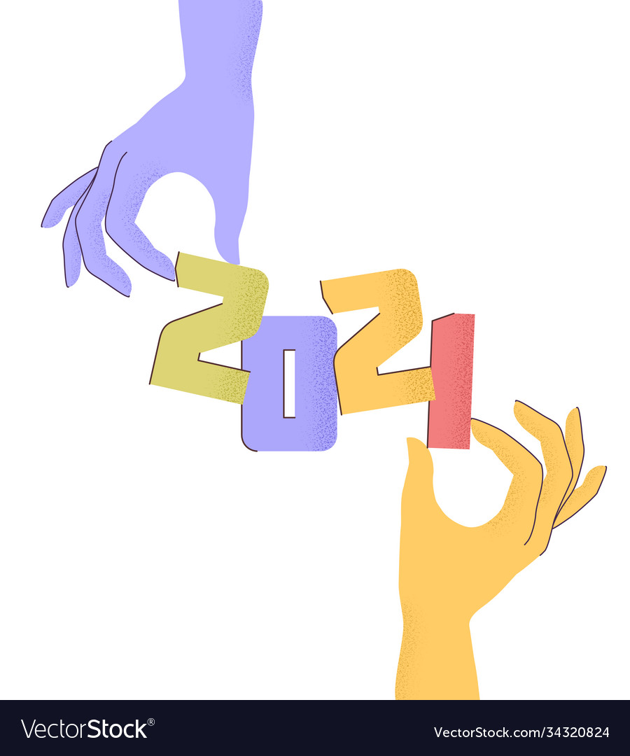 2021 with flat cartoon numbers and human hands
