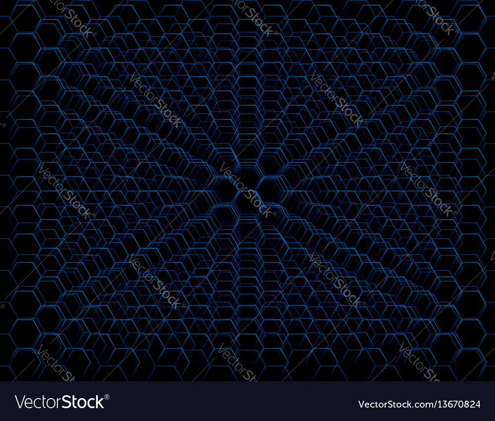 Abstract blue futuristic honeycomb cell pattern