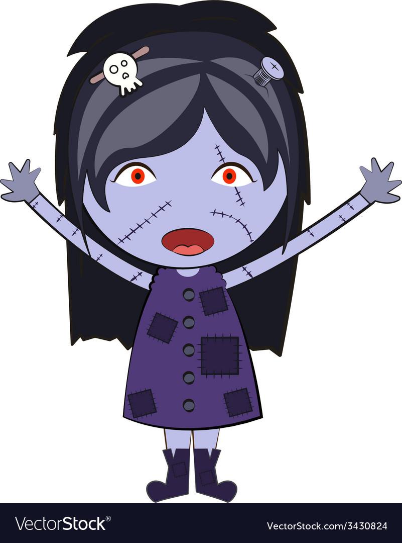 Cartoon Happy Zombie Girl Cute Doodles Drawings Vector Image