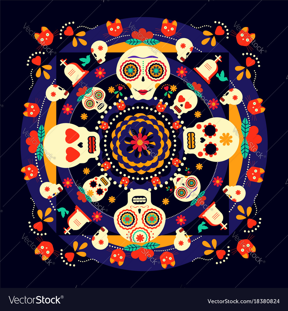Day of the dead sugar skull holiday background