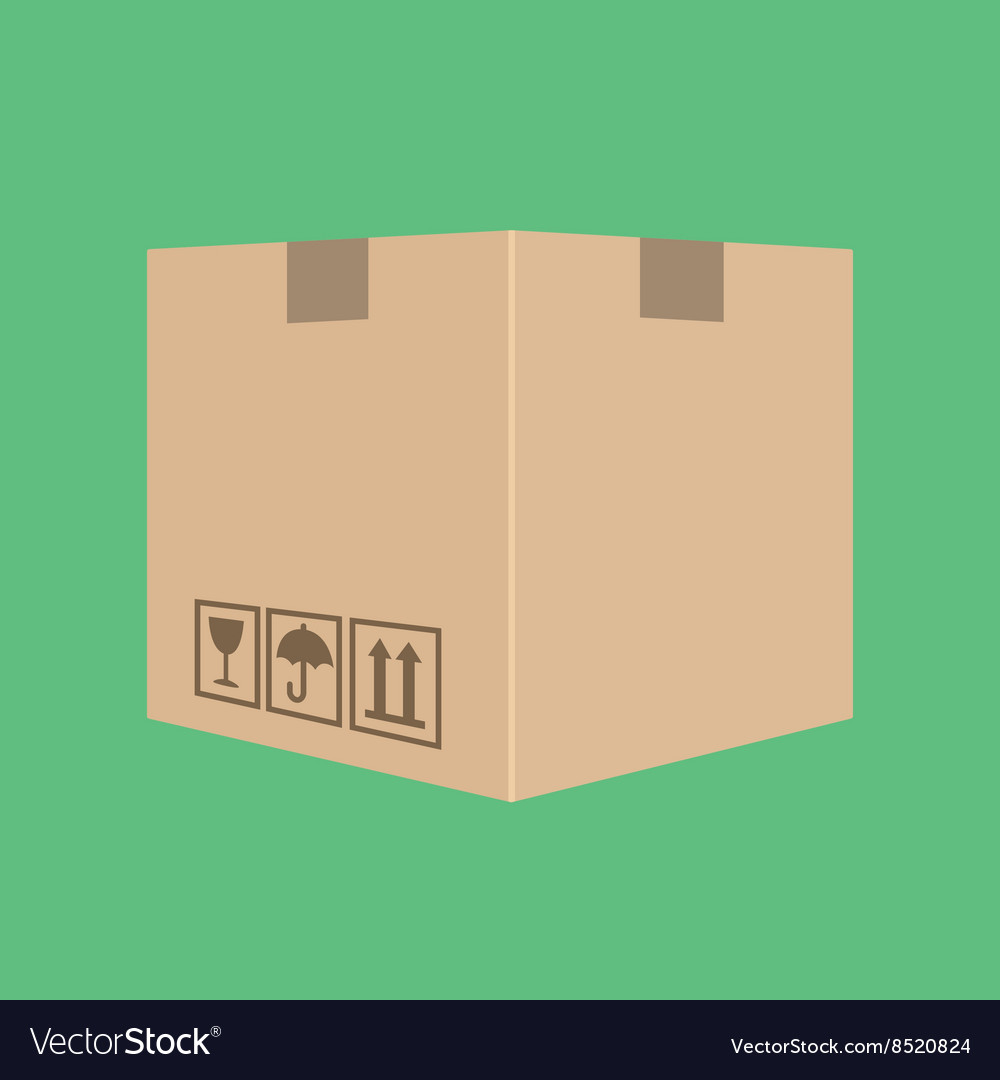 Delivery box package cardboard with green