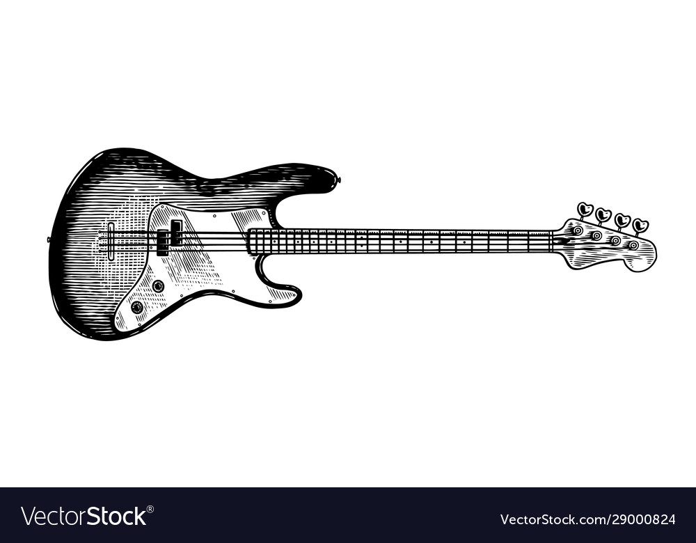 Electro bass guitar in monochrome engraved vintage
