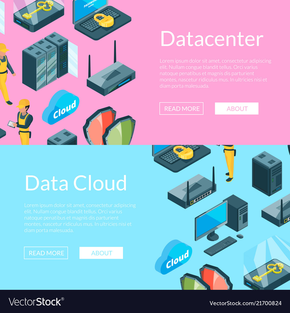 Electronic system of data center icons web