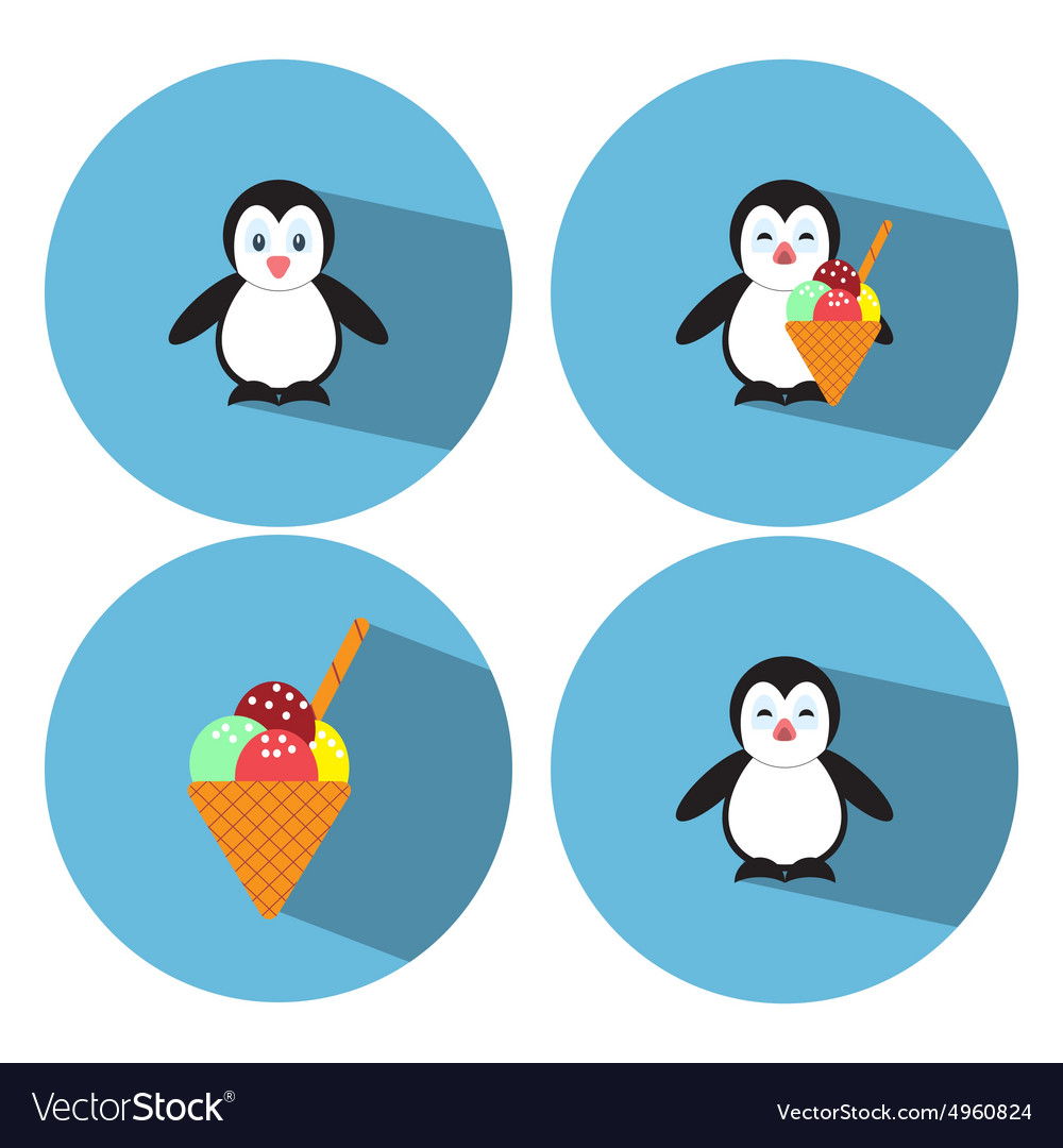 Flat Penguin Ice Cream vector image