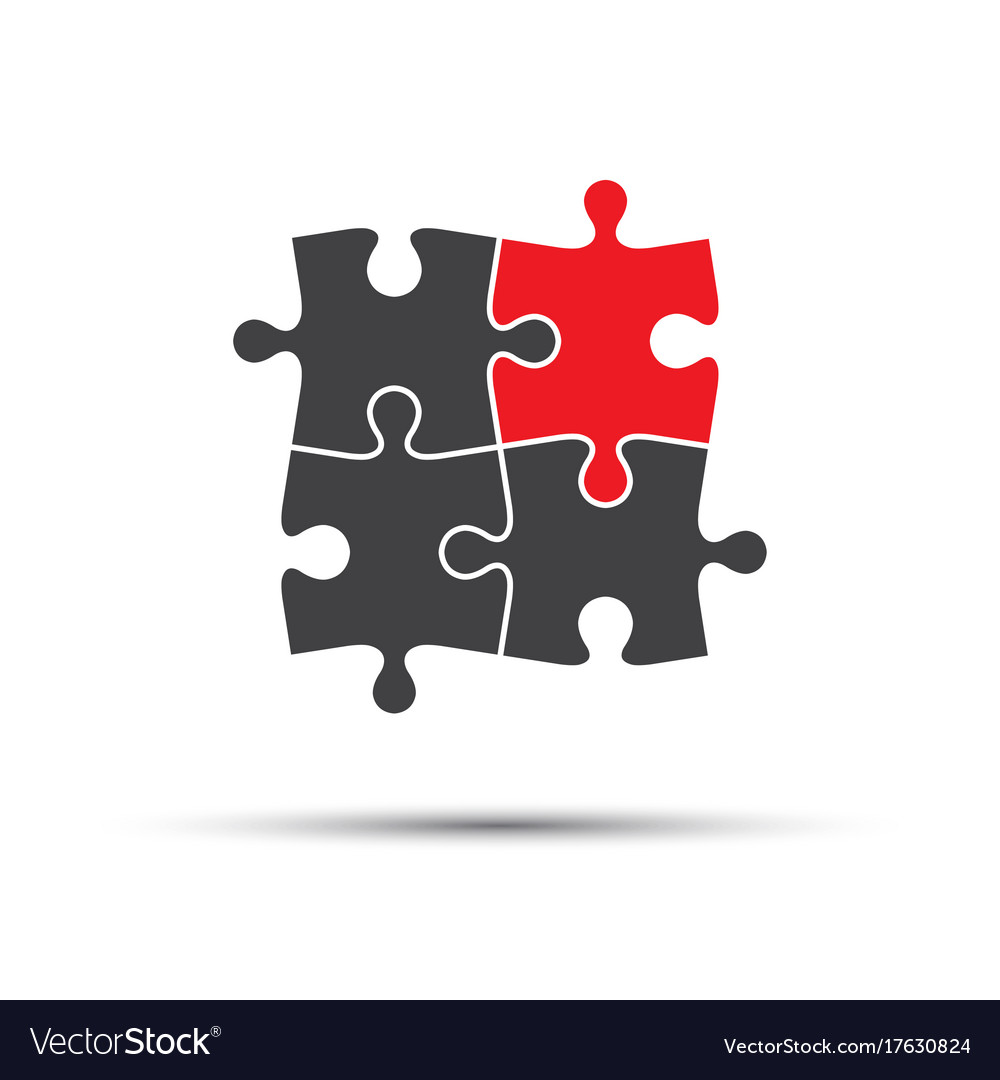 Four puzzle pieces one red and three gray