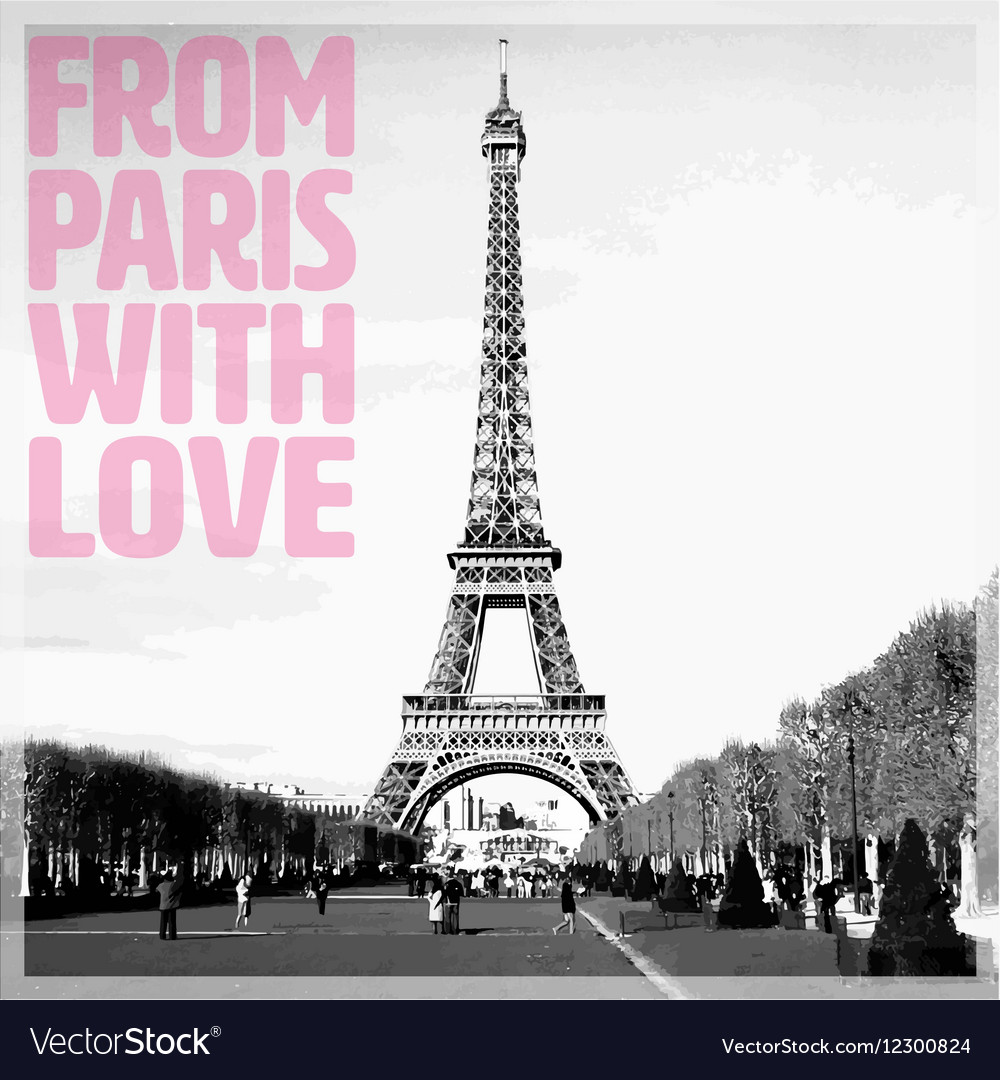 From Paris with Love - Romantic card with quote