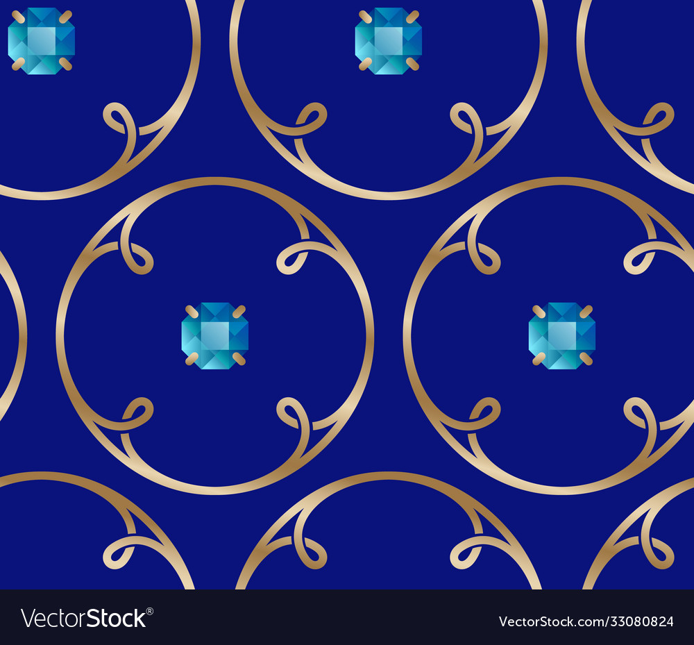 Golden rings loops and blue gem stones seamless
