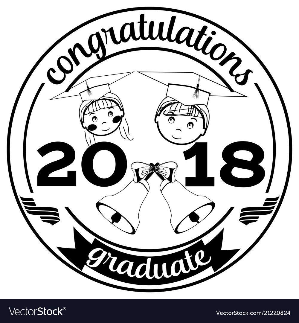 Graduation 2018 badge flat template vector image