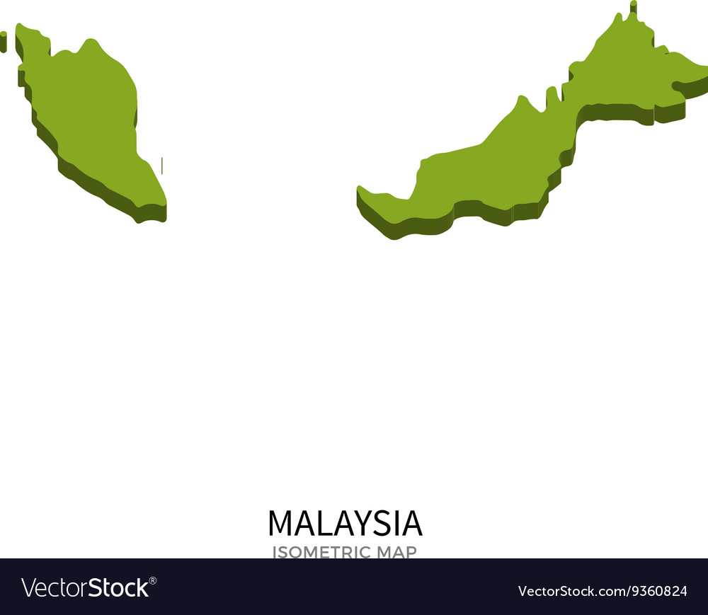 Isometric map of Malaysia detailed vector image
