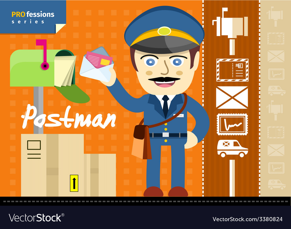 Male postman in uniform with bag holding letter