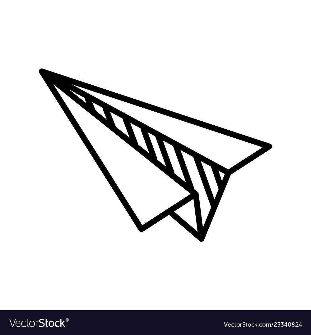 Paper plane doodle on white background