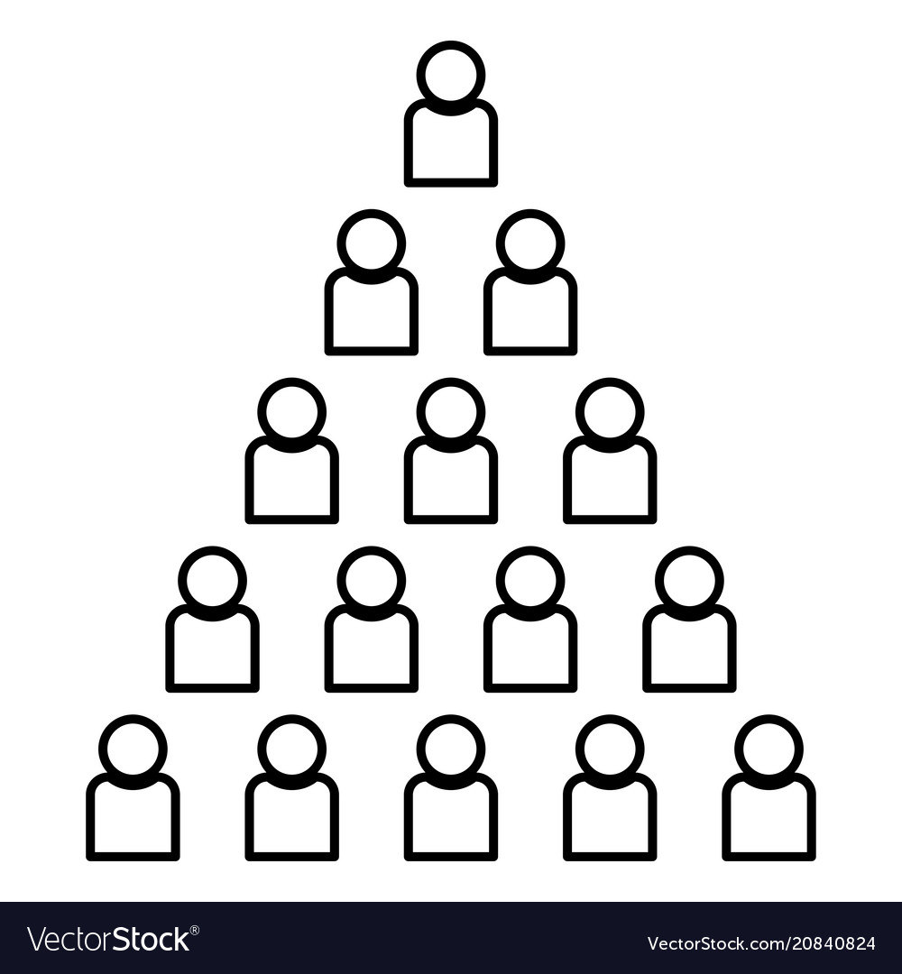 People pyramid icon black color flat style simple