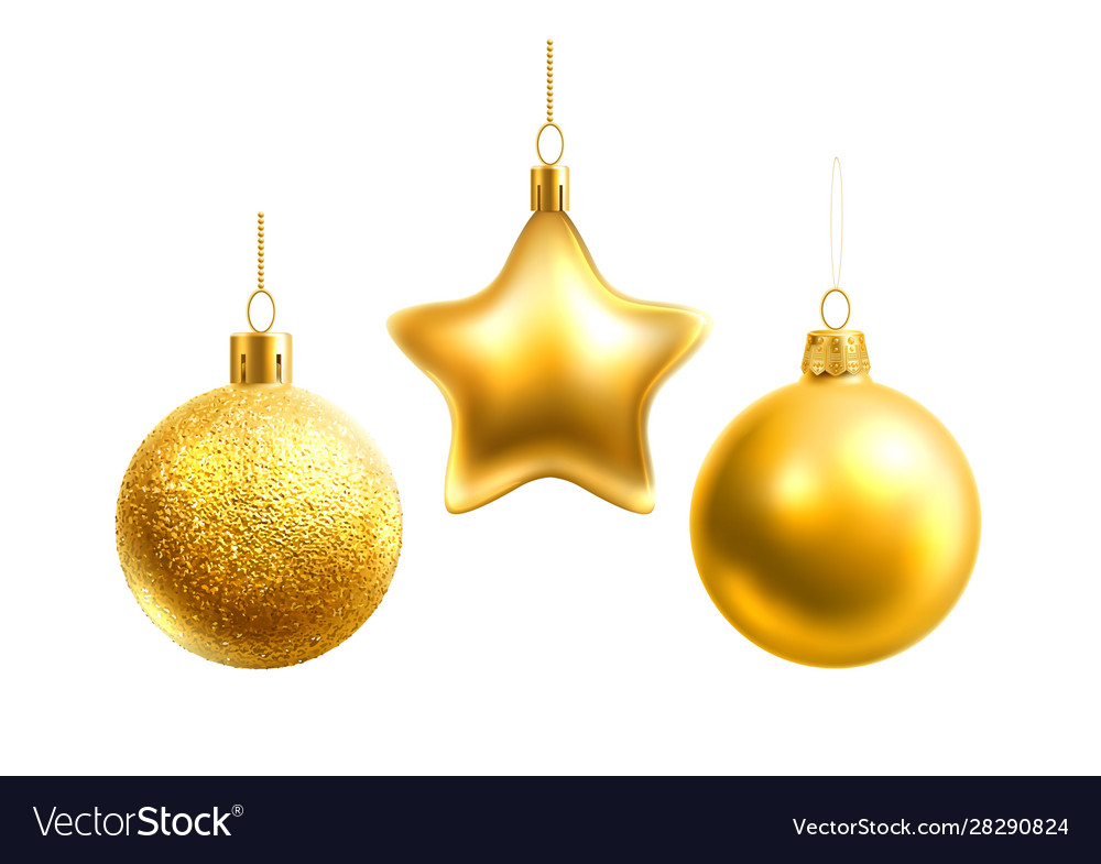 Realistic christmas tree decor balls stars
