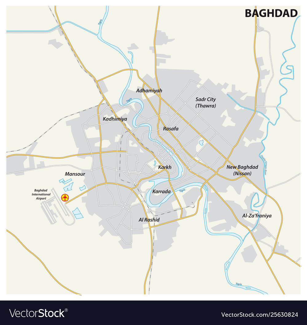 Road map iraqi capital baghdad