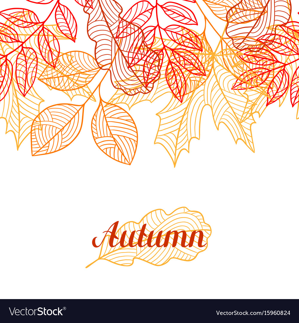 Seamless floral border with stylized autumn vector image