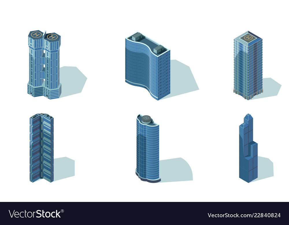 Set big urban office buildings with helipad
