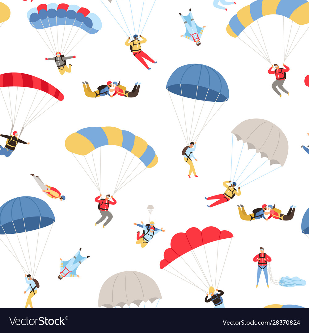 Skydivers seamless pattern