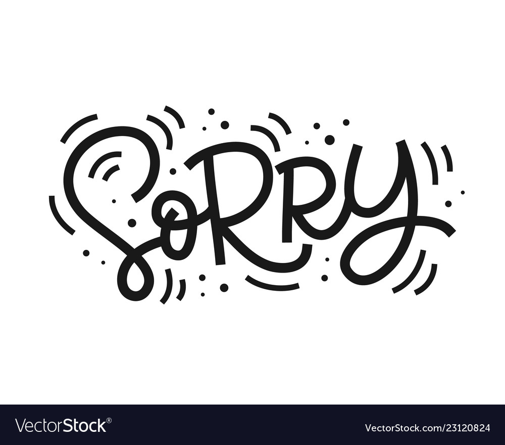 Sorry hand lettering isolated on white