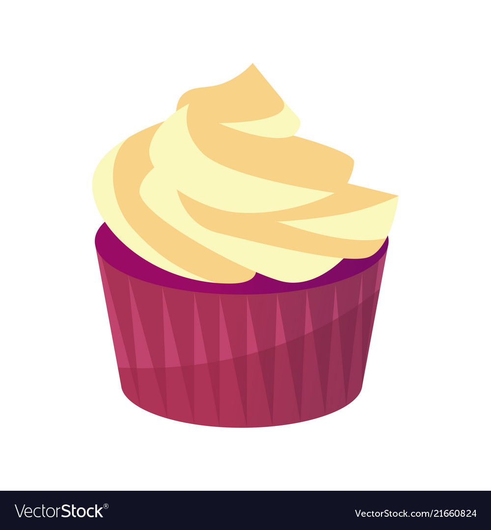 Tasty cupcake with sweet cream icon of pastry