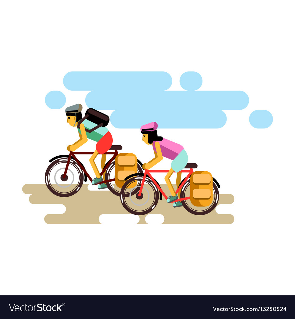 Two cycling boy and girl in