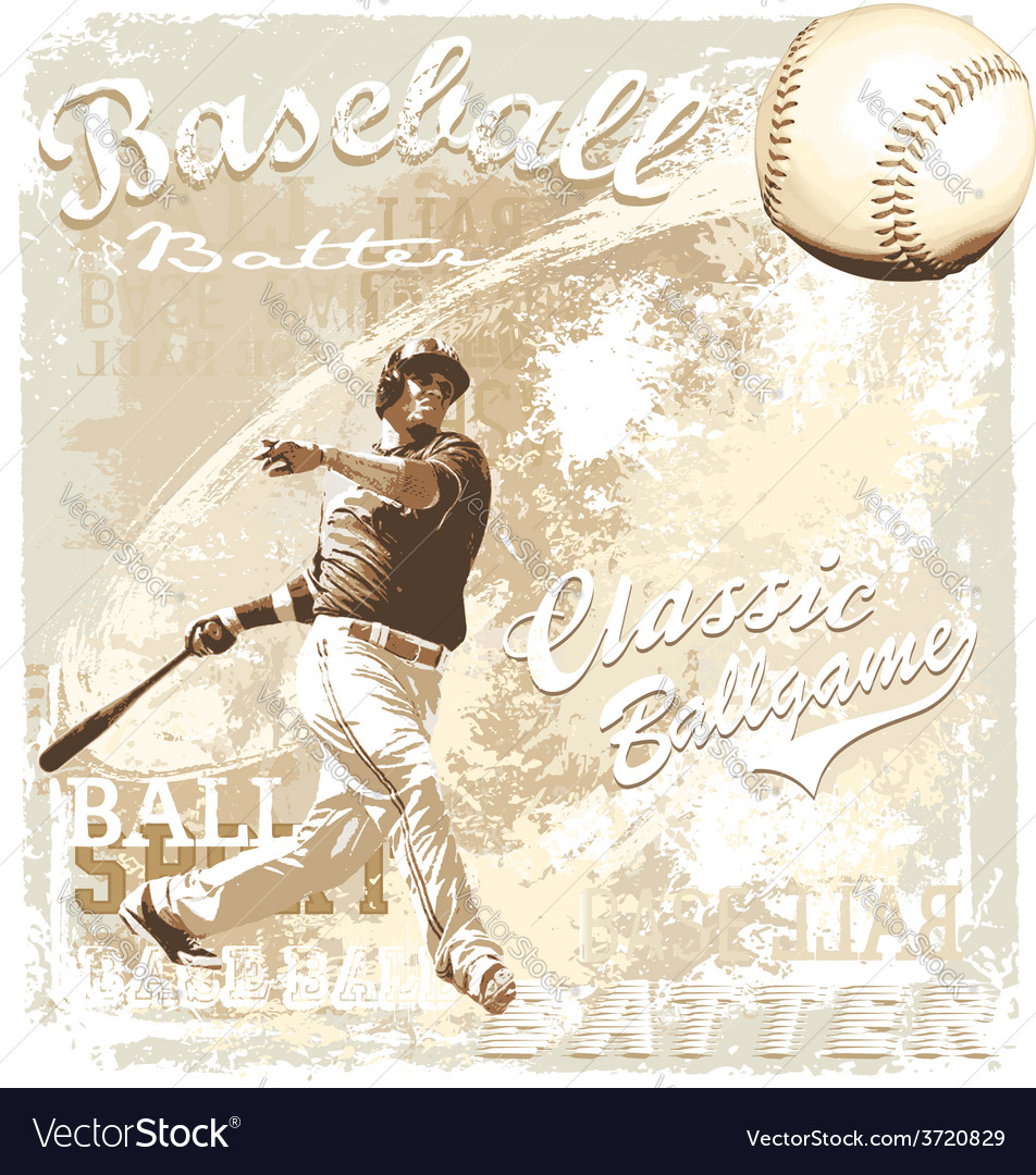 Batting baseball vector image