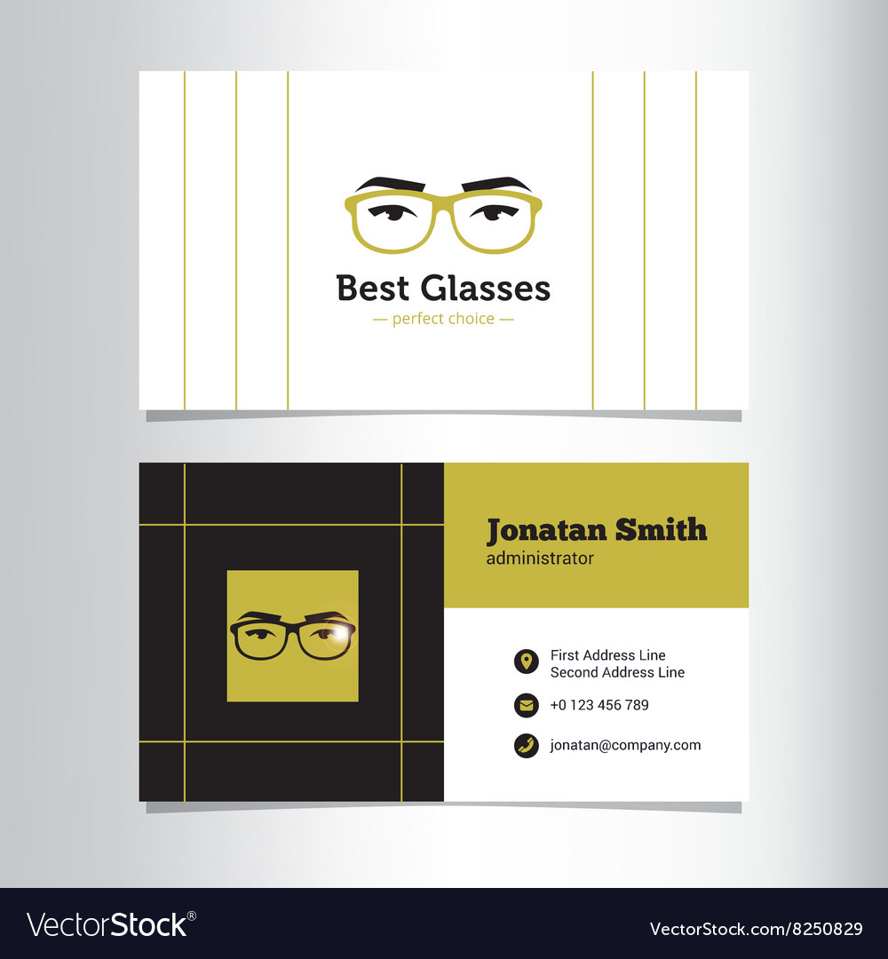 Business card template with glass store Royalty Free Vector