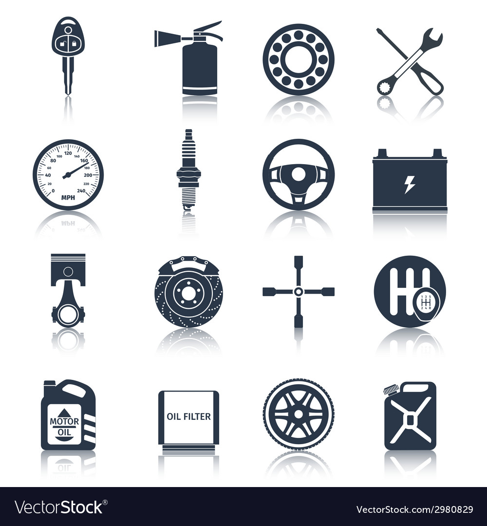 Car Parts Icons Black Royalty Free Vector Image