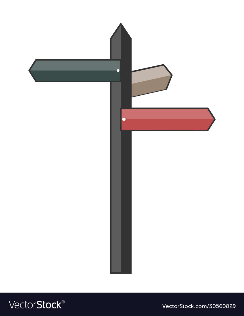Flat road signpost traveling icon