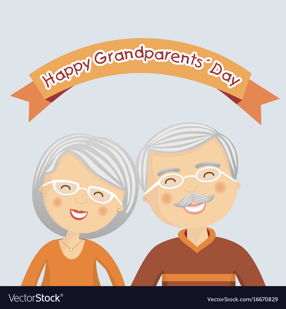 Happy grandparents day with grey hair vector image