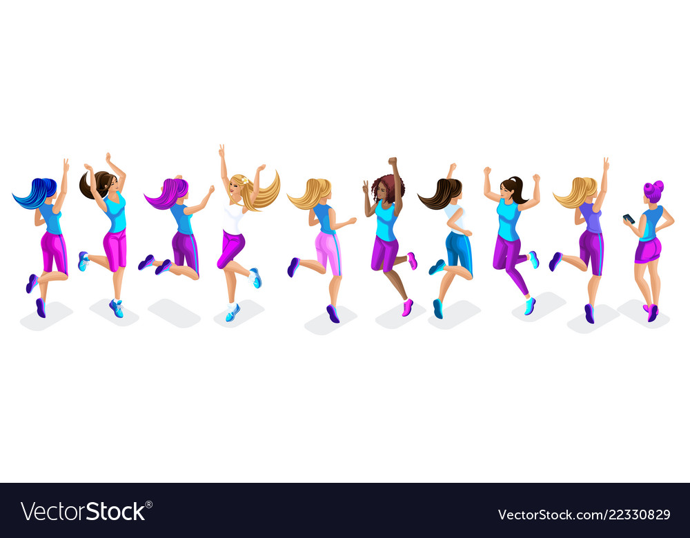 Isometric of a large set of female athletes jumpin