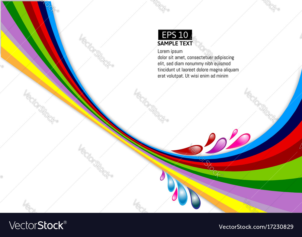 Multi Colour Line Wave On White Background