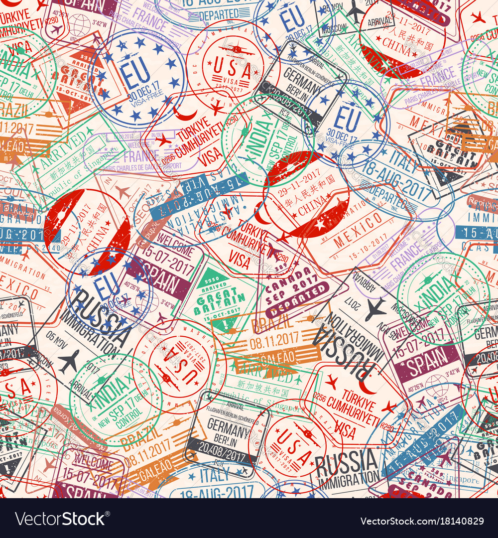 Passport stamp seamless pattern international