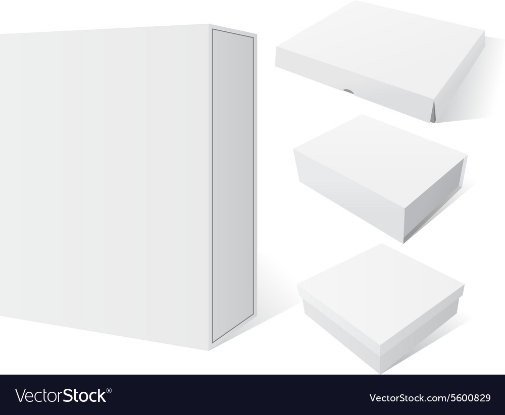 Realistic Set white Package Mockup Box vector image