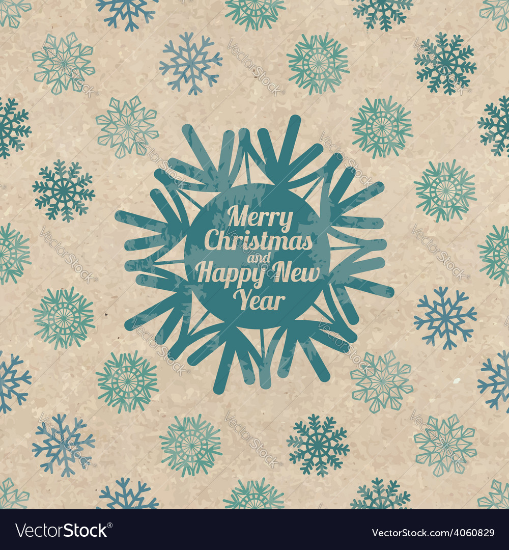 Retro Christmas greeting card with snowflakes