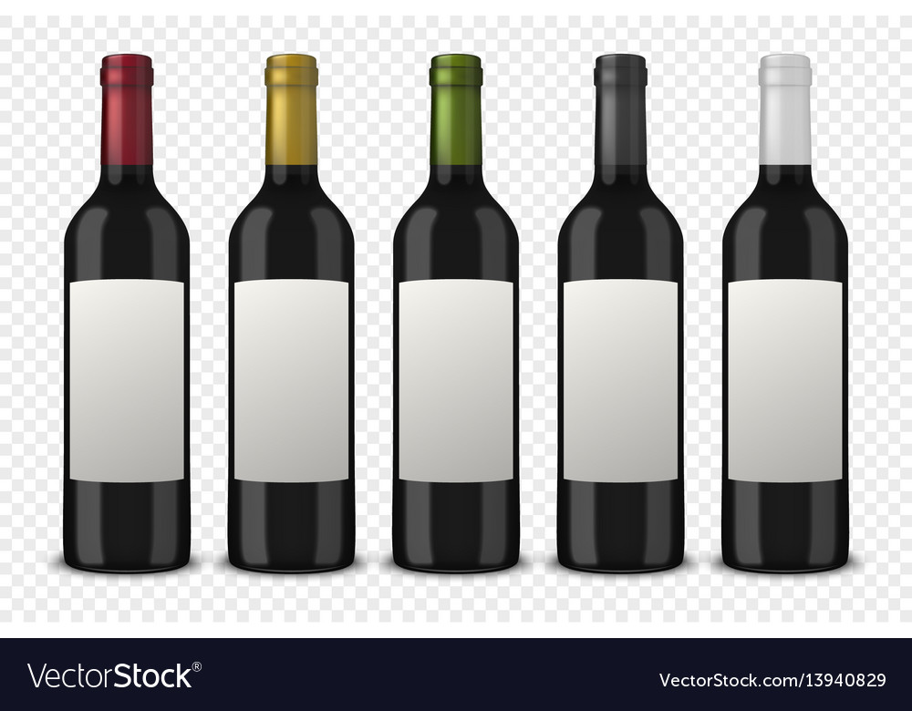 Set 5 realistic black bottles of wine