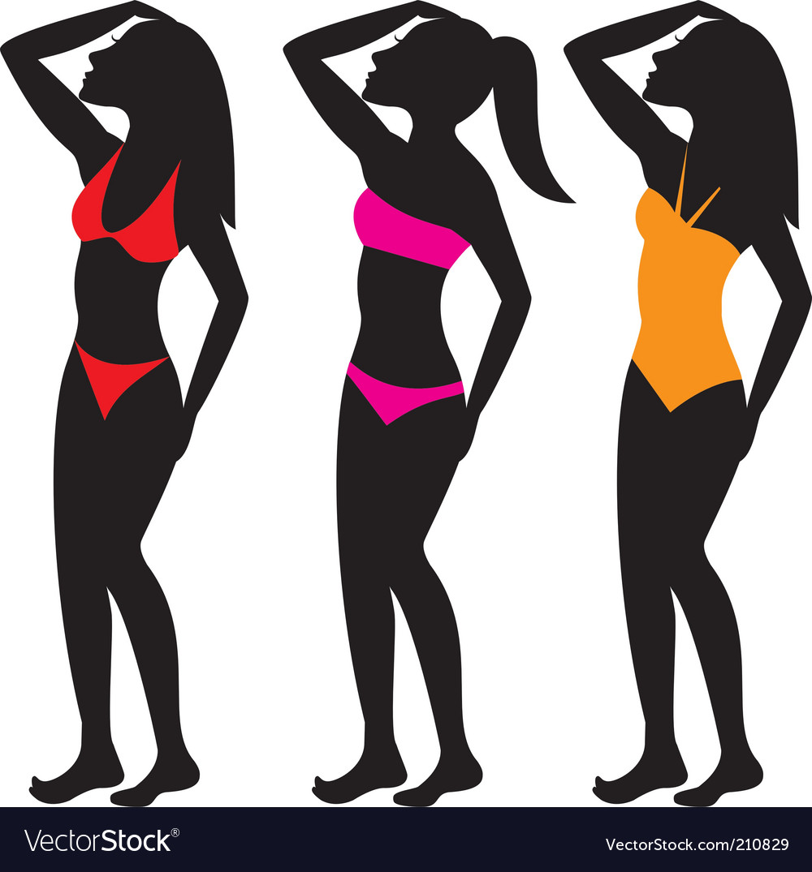 Swim suit silhouettes